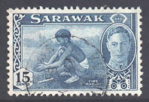 Sarawak Scott 188 - SG179, 1950 George VI 15c used