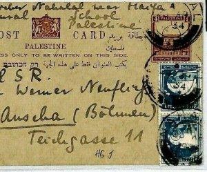 PALESTINE British Stationery Card *Agriculture School* 1934 Ausha BOHEMIA CS172