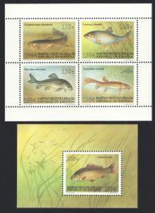 Kyrgyzstan Fish Sheetlet of 4v+MS 1994 MNH SC#51a-52 SG#43-MS47 MI#44-47+Block 5