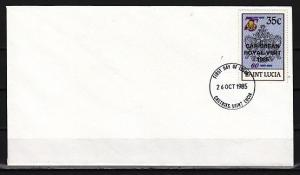 St. Lucia, Scott cat. 796. Royal Visit o/p on Girl Guides. First day cover. ^