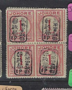 MALAYA JAPANESE OCC JOHORE (P2404B) POSTAGE DUE 1C CHOP SG JD1A  BL OF 4  MNH