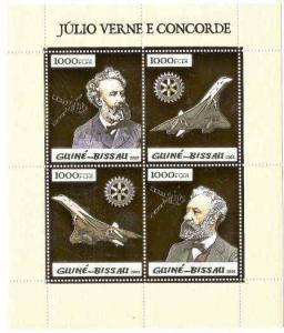 Guinea-Bissau- Concorde & Verne - Sheet of 4 Gold Foil Stamps GB5p08ag