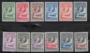Bechuanaland 1955 Queen Elizabeth II Pictorials Scott # 154 - 165 MH