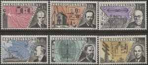 CZECHOSLOVAKIA 1959 Sc 949-954 Set of 6, MNH VF Inventers - Radio & Telegraphy