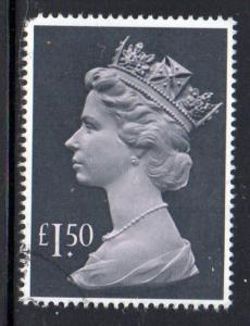 Great Britain Sc MH173 1976 £1.50 QE II Machin Head stamp used