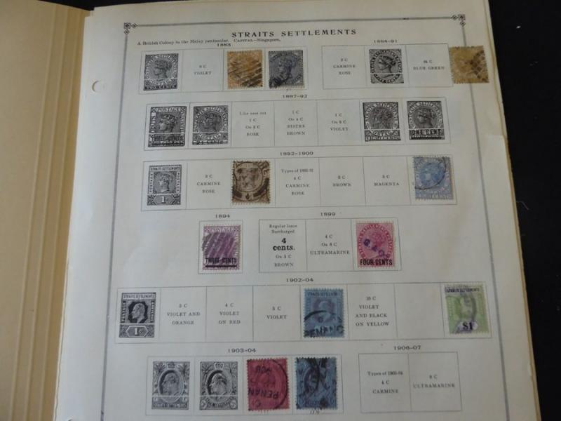 Straits Settlements 1883-1949 Mint/Used Stamp Collection on Scott Int Album Page