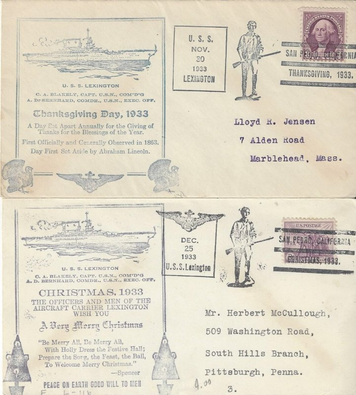 US Naval Cover USS Lexington  CV2  1933  Thanksgiving and Christmas