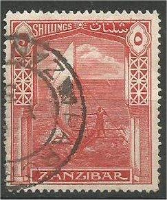 ZANZIBAR, 1936, used 5sh, Dhow Scott 211