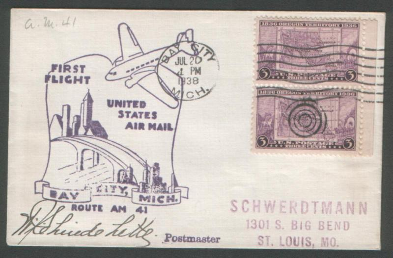 USA 1938 First Flight Bay City Mich. Route AM 41