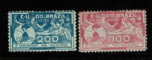 Brazil SC# 172 & 173 Mint Light Hinged / Minor Gum Creases - S7118