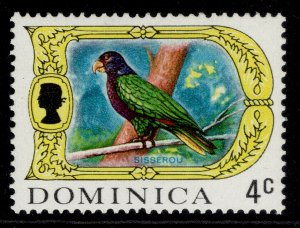 DOMINICA QEII SG276a, 4c imperial amazon, NH MINT. GLAZED PAPER