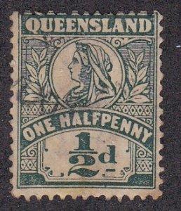 Queensland # 124, Queen Victoria, Used, 1/2 Cat.