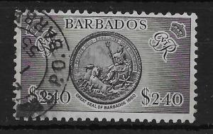 BARBADOS SG282 1950 $2.40 BLACK USED