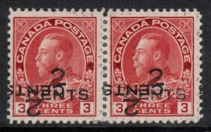 Canada #140c Very Fine Mint Pair Double Surcharge **With Certificate**