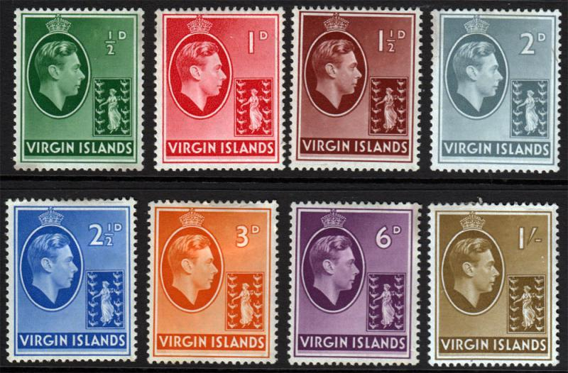 British Virgin Islands KGVI 1938 CHALK issues SG110-SG117 Mint Hinged