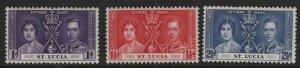 ST. LUCIA, (3) SET, 107-109, HINGED, 1937, Coronation issue
