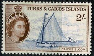 TURK & CAICOS Is. 1957 QE II 2/- BLUE & BROWN UNUSED (MH) SG 248 Wmk.w12 VGC
