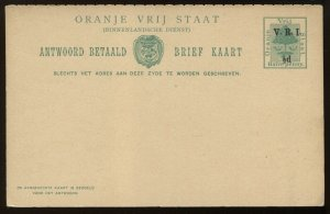 Orange Free State overprinted 1/2d Post Card unused with return card, H & G PC15