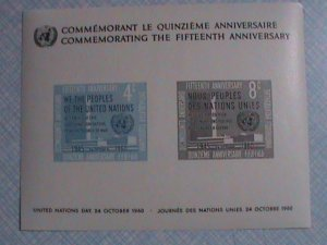 1960 UNITED NATIONS: 15TH ANNIVERSARY OF UN S/S