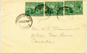 Trinidad 1/2d KGV and Britannia (3) 1934 Princes Town, Trinidad to Debec, New...