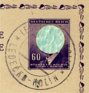 BÖHMEN u. MAHREN - 1944  LEDETSCHKO-KOLIN  TPO n°93a bilingual CDS on cut-out