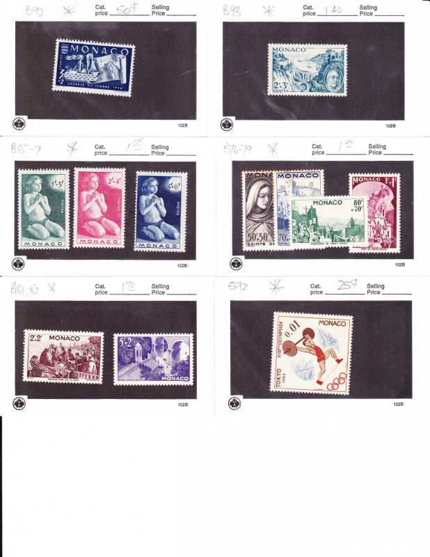 MONACO small grouping mainly mint 2016 scott cv is $14+ low start