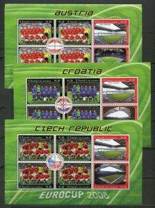 ST. VINCENT GRENADINES EUROCUP 2008  SET OF SIXTEEN SHEETS  MINT NH