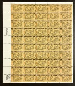 1407   South Carolina Founding  Mint 6 Cent  Sheet of 50    Issued in 1970