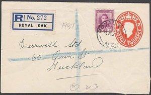 NEW ZEALAND 1951 GVI 2d envelope + 4d registered ex ROYAL OAK...............B596