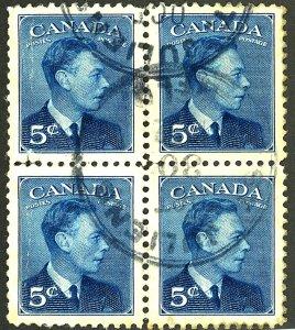 CANADA #288 USED BLOCK OF 4