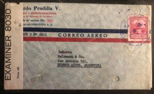 1940s Caracas Venezuela Airmail Censored Cover To Buenos Aires Argentina