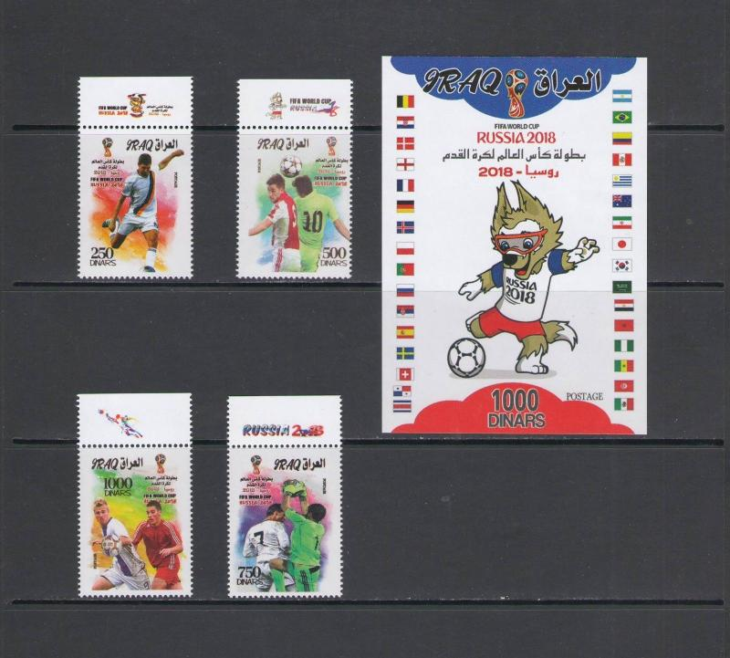 IRAQ : ++REDUCED++2018- NI / **WORLD CUP-SOCCER,RUSSIA   **/ 4 Values & SS / MNH