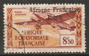 French Equatorial Africa 1940 Sc C14 air post used sans cedille variety