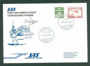 Denmark. Greece. First Flight Cover 1982. SAS Airbus. Copenhagen - Athens.
