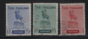 THAILAND, 312-314, SET (3), USED, 1955, KING TAKSIN  STATUE