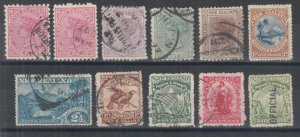 New Zealand Sc 61/O23 used. 1882-1907 issues, 11 diff better singles, F-VF group