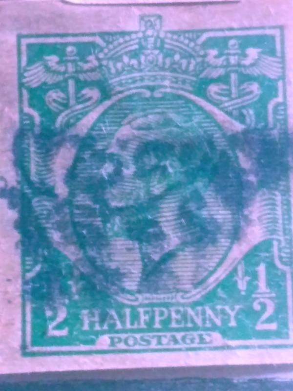 Great Britain Half Penny Postal Stationary Corner Used XF