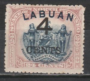 LABUAN 1899 LARGE 4C OVERPRINTED 24C ARMS PERF 13.5 -14
