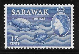 Sarawak 204: 15c Turtles, MH, F-VF