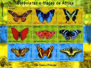 Sao Tome & Principe 2004 Butterflies Sheet Perforated Mint (NH)
