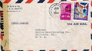 Dominican Republic 3c and 10c Centenary of Independence 1944 Santiago, Republ...