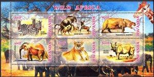 Rwanda 2013 Lions Elephants Rhinoceros Hippopotamus Zebras MNH Cinderella !