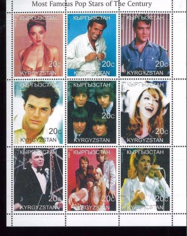 MOST FAMOUS POP STARS of 20th Century Mini Sheet of 9 MNH / Kyrgyzstan - E6