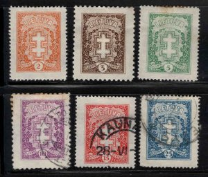 LITHUANIA LIETUVA Scott 210-215 mixed Mint and Used set few perf tips toned
