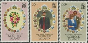 Norfolk Island 1981 SG262-264 Royal Wedding set MNH