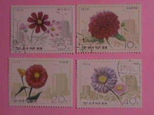 KOREA STAMP: 1976-SC#1437-40  KOREA FLOWERS CTO- NH SET. VERY RARE