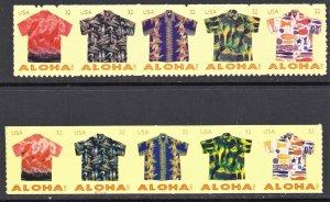 2012  Aloha Shirts 4592-96 Die Cut 11 4597-4601 Coil Die Cut 11 Vert MNH Hawaii