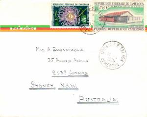 Cameroun 50F Buea Post Office and 30F Passionflower 1970 Doula R.P. Tri No. 4...
