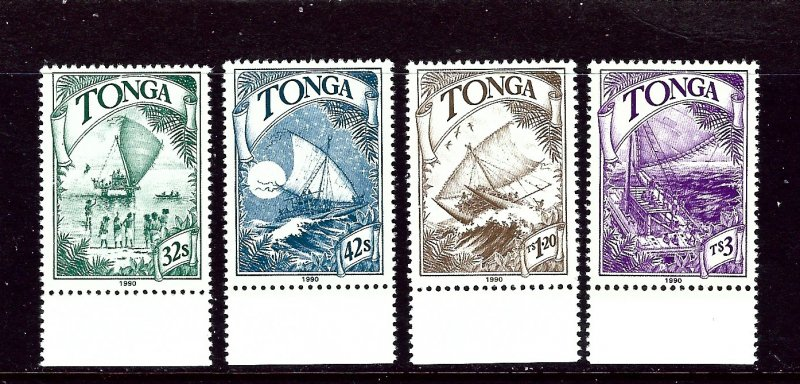 Tonga 748-51 MNH 1990 Boats  2019 CV $13.95