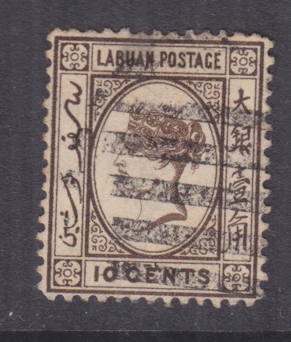 LABUAN, 1885 Crown CA, 10c. Sepia, used.